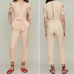 Maje Piruize Linen Blend Cold Shoulder Jumpsuit